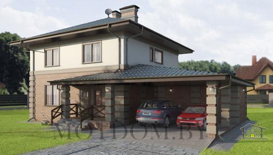 двухэтажный дом 10 на 10 с навесом