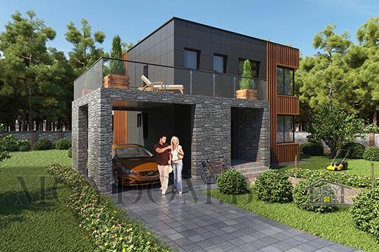 проект двухэтажного дома с навесом для машины