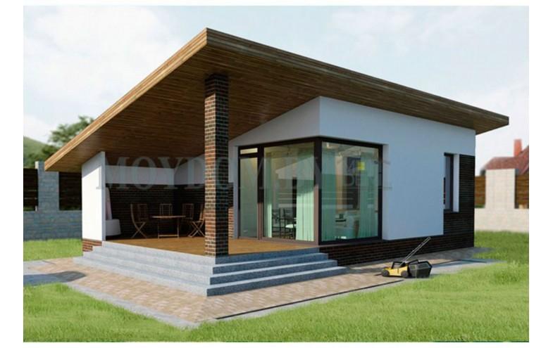 современный дом с односкатной крышей без чердака 7 на 10